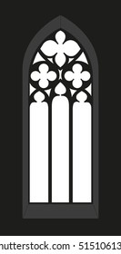 Gothic window - Silhouette - Vista - vector graphic