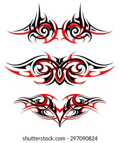 Gothic wing tattoo set