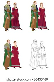 Gothic_formal_dress_2 Medieval formal wear such as used for receptions and an audience with the king.
