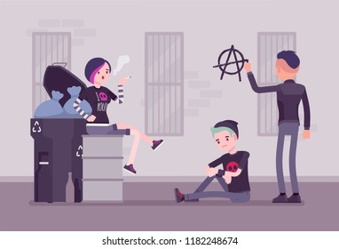 Goths and punks subculture street life, frustrated young people wear black clothes, group spend time outdoors, anarchy symbol painted on wall. Vector flat style cartoon illustration
