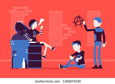 Goths and punks subculture street life, frustrated young people wear dark clothes, group spend time outdoors, anarchy symbol painted on wall. Vector illustration, faceless characters