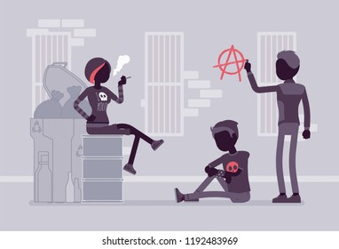 Goths and punks subculture street life, people wear dark clothes, group spend time outdoors, anarchy symbol painted on wall. Vector flat style and line art cartoon illustration, black silhouette