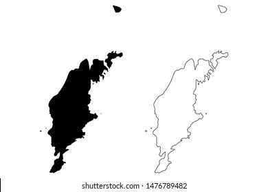 Gotland County (Counties of Sweden, Kingdom of Sweden) map vector illustration, scribble sketch Gotland island map