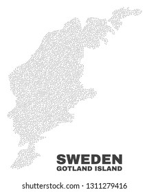 Gotland Island map designed with small dots. Vector abstraction in black color is isolated on a white background. Random small dots are organized into Gotland Island map.