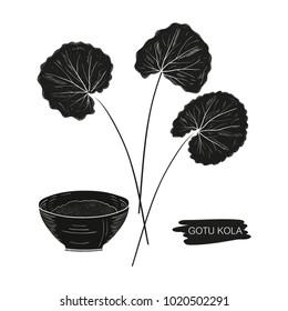 Gotu Kola. Leaves, bowl. Silhouette, black color on a white background.
