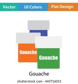 Gouache can icon. Flat color design. Vector illustration.