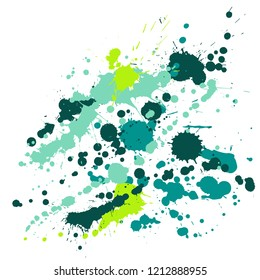 Gouache paint stains grunge background vector. Abstract ink splatter, spray blots, dirt spot elements, wall graffiti. Watercolor paint splashes pattern, smear liquid splats stains background.