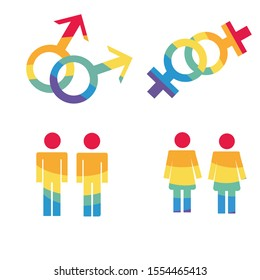 Gouple symbols set isolated on white background. Gay couple ison. Lesbian couple icon. Homosexual couples. Design element for flyers or banners. Gay gender symbols set. LGBT pride symbols