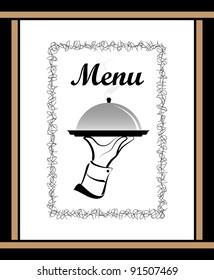 Gourmet food menu. Waiter's hand holding a dinner platter.