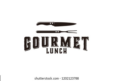 gourmet, kitchen, knife, bbq logo Designs Inspiration Isolated on White Background