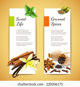 Gourmet spices sweet life vertical banners set isolated vector illustration