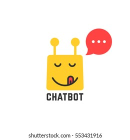 gourmet yellow chatbot icon. concept of internet ai, text chat bubble conversation, tasty, spam, joy pleasure, foodie, sending. flat style trend modern logotype graphic art design on white background