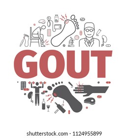Gout banner. Symptoms, Treatment. Vector signs for web graphics.