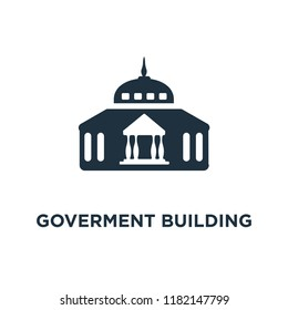 Goverment Building icon. Black filled vector illustration. Goverment Building symbol on white background. Can be used in web and mobile.