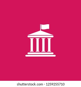 goverment icon vector. goverment sign on pink background. goverment icon for web and app