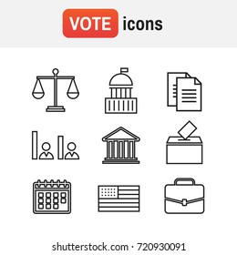 governance icon election. Voting and elections linear icons. Government political