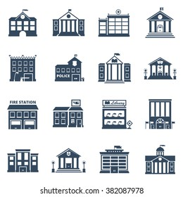 Government building black icons set of fire station library prison post office isolated vector illustration