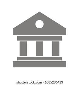 Government building icon for web. Gray goverment vector icon
