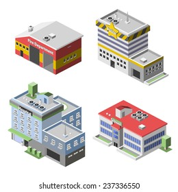 Government buildings 3d isometric set with fire department police hospital school isolated vector illustration