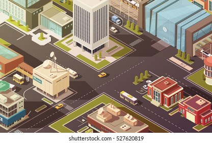 Government buildings city streets roads and traffic isometric vector illustration