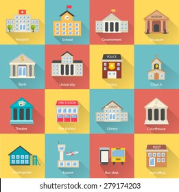 Government buildings icons set with long shadow. Includes church, school, police, museum, library, theater, airport, bank isolated, vector illustration