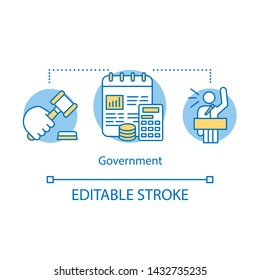 Government concept icon. Political system idea thin line illustration. Political campaign. Government system. Economy, budget. Order, law. Vector isolated outline drawing. Editable stroke