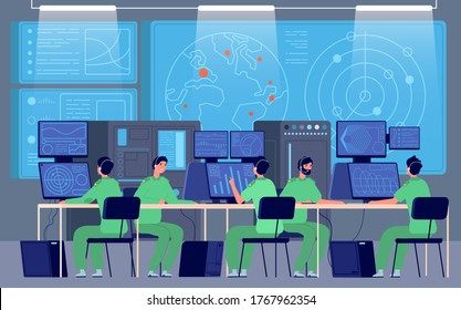 Government control center. Command room, engineers controlling military mission. Security station, cybersecurity department vector concept
