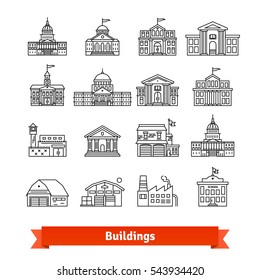 Government and educational public building set. Thin line art icons. Linear style illustrations isolated on white.