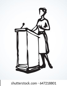 Government election narrator talk oratory isolated on white stage backdrop. Freehand linear black ink hand drawn picture logo sketchy in retro scribble graphic style pen on paper with space for text