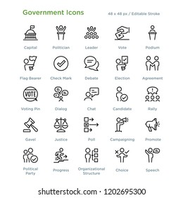 Government Icons - Outline styled icons, designed to 48 x 48 pixel grid. Editable stroke.