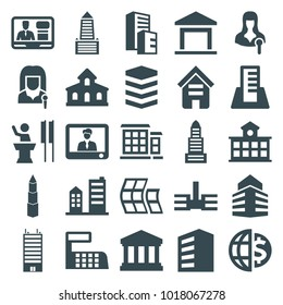 Government icons. set of 25 editable filled government icons such as building, business center, woman speaker, tv speaker, court building, speaker, modern curved building