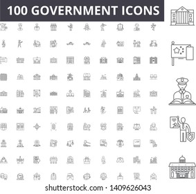 Government line icons, signs, vector set, outline illustration concept
