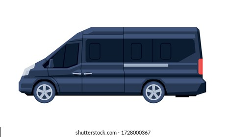 Government Mini Van Vehicle, Black Presidential Auto, Luxury Business Transportation, Side View Flat Vector Illustration