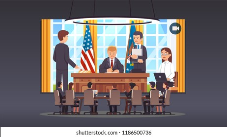 Government officials boardroom meeting video conference talking to United States president sitting at his desk signing law act document in White House oval office. Flat style vector illustration
