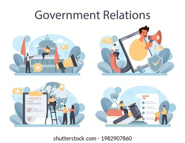 Government PR set. Political party or political institutions public administration and promotion. Positive relationship with electorate building. Flat vector illustration