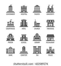 Government, public building vector icons set.