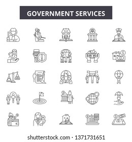 Government services line icons, signs set, vector. Government services outline concept, illustration: government,service,business,education,administration,money