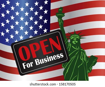 Government Shutdown Open For Business Sign with Statue of Liberty with USA American Flag Vector Illustration