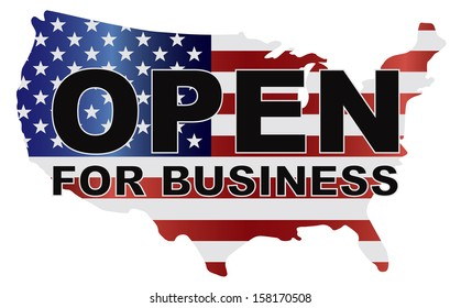 Government Shutdown Open For Business Text Outline with American USA Flag in Country Map Silhouette Vector Illustration