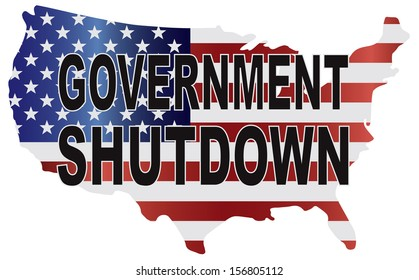 Government Shutdown Text Outline with American USA Flag in Country Map Silhouette Vector Illustration