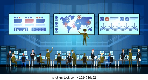 Government Surveillance Agency and Military Joint Operation. People and the military Working at System Control Center.