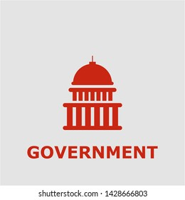 Government symbol. Outline government icon. Government vector illustration for graphic art.