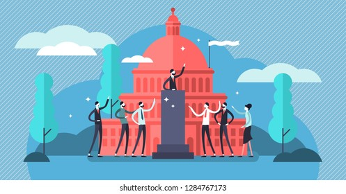 Government vector illustration. Flat tiny political speech persons concept. Democratic election campaign. Political debates and parliament voting. National, economic and strategic decisions.