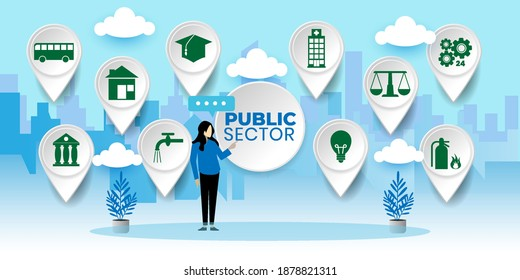Governmental System Citizen Service Concept. Public Sector Government People Business Concept With icons. Cartoon Vector People Illustration