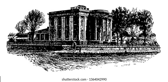 Governor's Mansion at Jackson, official fresidence for Governer vintage line drawing.