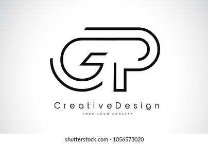 GP G P Letter Logo Design in Black Colors. Creative Modern Letters Vector Icon Logo Illustration.
