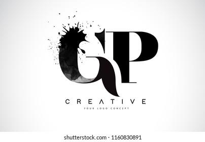 GP G P Letter Logo Design with Black Ink Watercolor Splash Spill Vector Illustration.