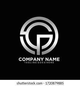 GP or GPO initial logo and monogram logo design in silver color