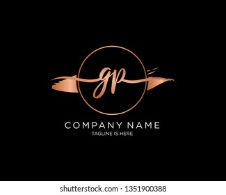 GP handwriting initial  logo vector