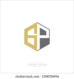 GP Logo Initial Monogram Negative Space Design Template With Gold and Grey Color - Vector EPS 10